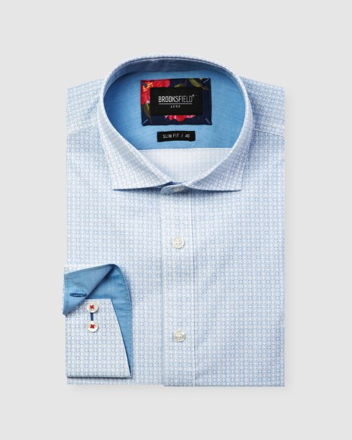 Brooksfield Luxe Geo Print Slub Business Shirt BFC1607 colour: BLUE