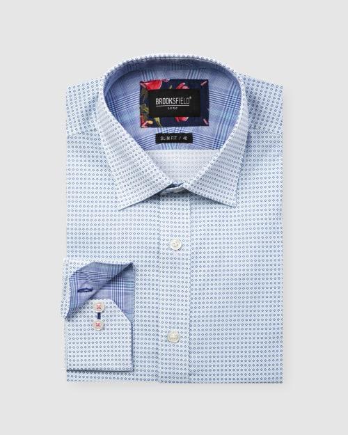Brooksfield Luxe Two-tone Diamond Print Business Shirt BFC1608 colour: AQUA
