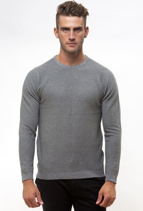 Brooksfield Crew Neck Textured Sweater BFK391 colour: GREY