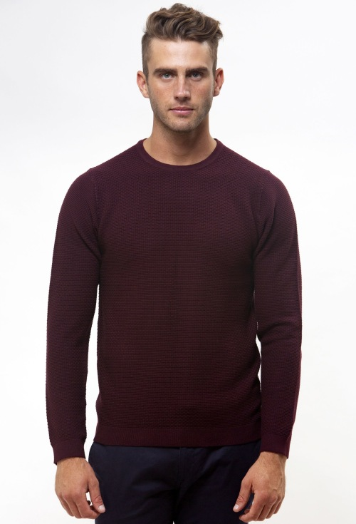 Brooksfield Crew Neck Textured Sweater BFK391 colour: WINE
