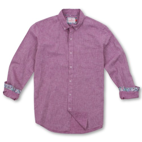 Brooksfield Linen Blend Pin Dot Print Casual Long Sleeve Shirt BFS917 colour: FUSCHIA