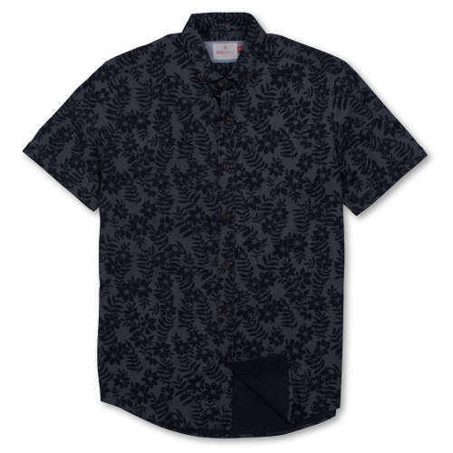 Brooksfield Dot Flower Print Casual Short Sleeve Shirt BFS921 colour: NAVY