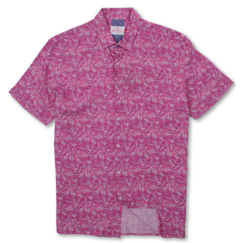 Brooksfield Leaf Print Casual Short Sleeve Shirt BFS925 colour: CORAL