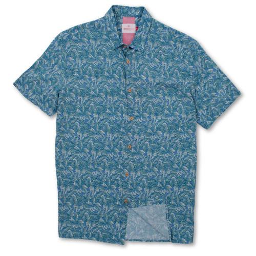 Brooksfield Leaf Print Casual Short Sleeve Shirt BFS925 colour: TEAL