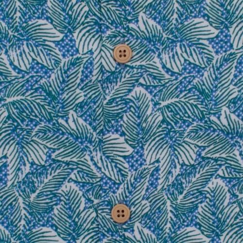 Enlarge  BROOKSFIELD Mens Leaf Print Casual Short Sleeve Shirt BFS925 TEAL