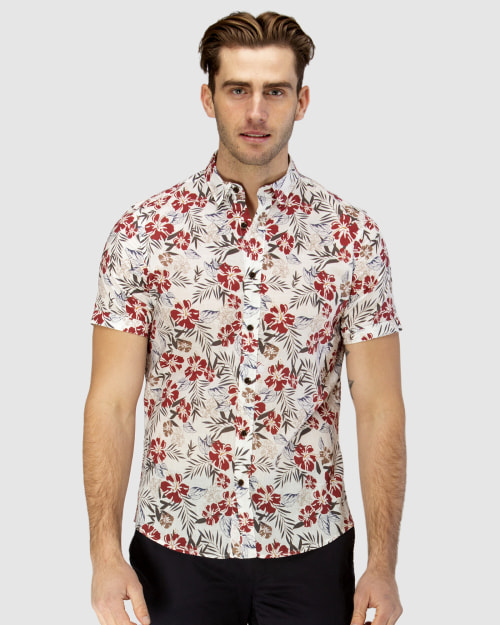 Brooksfield Hawaiian Print Short Sleeve Casual Shirt BFS940 colour: RED