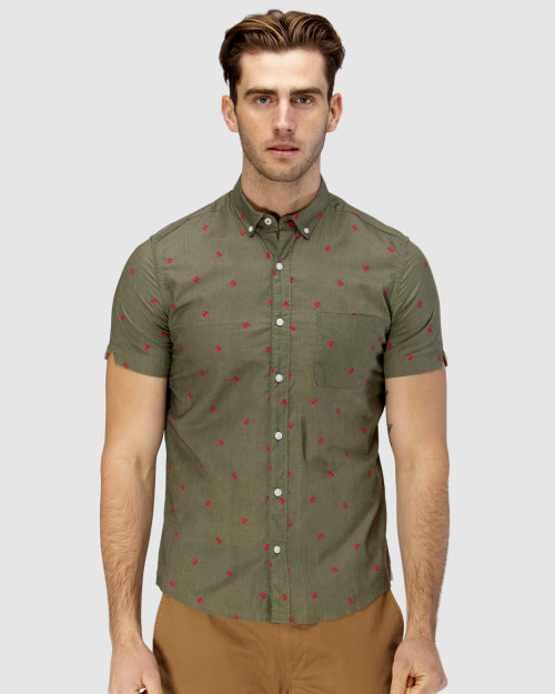 Brooksfield Thong Print Short Sleeve Casual Shirt BFS941 colour: ARMY