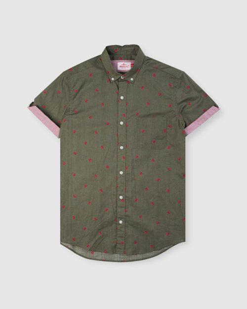 Enlarge  BROOKSFIELD Mens Thong Print Short Sleeve Casual Shirt BFS941 ARMY