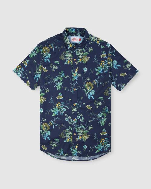 Enlarge  BROOKSFIELD Mens Large Floral Print Short Sleeve Casual Shirt BFS942 NAVY