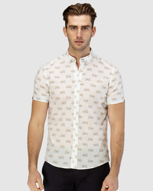 Brooksfield Bicycle Print Short Sleeve Casual Shirt BFS944 colour: YELLOW
