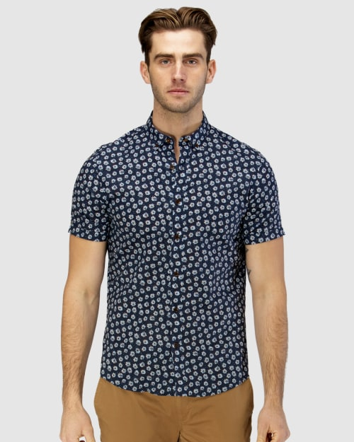 Brooksfield Daisy Print Casual Short Sleeve Shirt BFS945 colour: NAVY