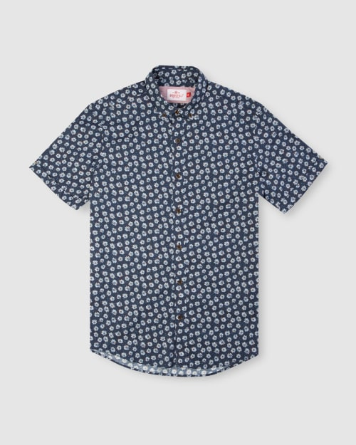 Enlarge  BROOKSFIELD Mens Daisy Print Casual Short Sleeve Shirt BFS945 NAVY
