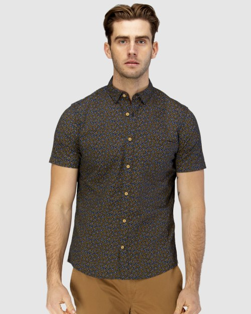 Brooksfield Leaf Print Short Sleeve Casual Shirt BFS947 colour: NAVY