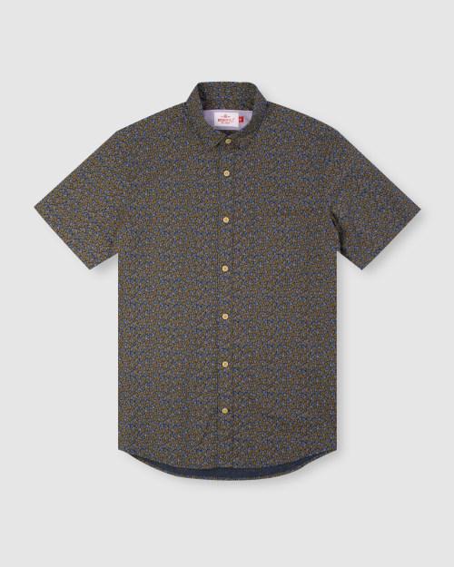 Enlarge  BROOKSFIELD Mens Leaf Print Short Sleeve Casual Shirt BFS947 NAVY