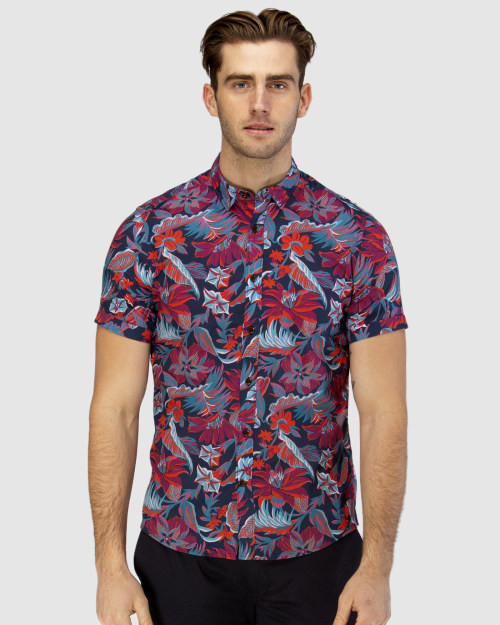 Brooksfield Hawaiian Print Short Sleeve Casual Shirt BFS948 colour: NAVY