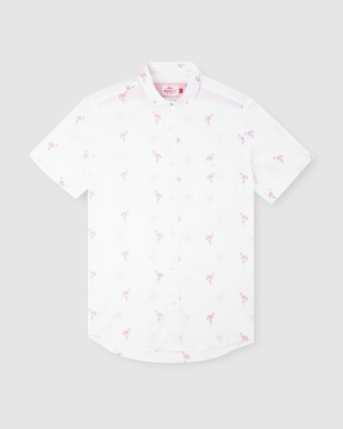 Enlarge  BROOKSFIELD Mens Flamingo Print Short Sleeve Casual Shirt BFS950 PINK