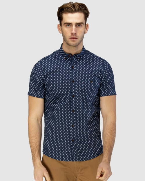 Brooksfield Train Print Short Sleeve Casual Shirt BFS951 colour: NAVY