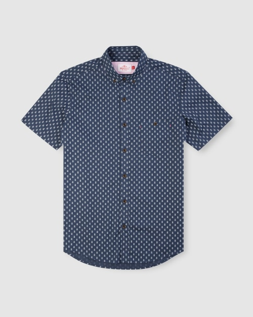 Enlarge  BROOKSFIELD Mens Train Print Short Sleeve Casual Shirt BFS951 NAVY