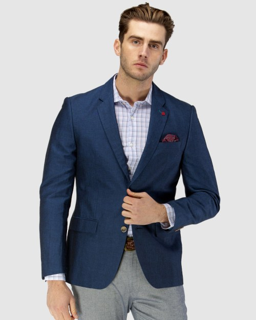 Enlarge  BROOKSFIELD Mens Linen Blend Textured Plain Blazer BFU833 NAVY