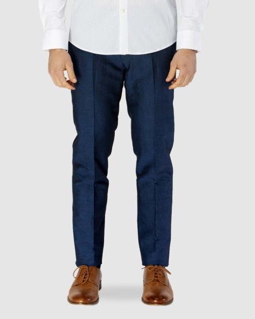 Brooksfield Linen Blend Textured Plain Trouser BFU834 colour: NAVY