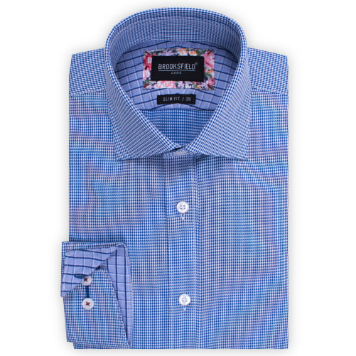 Brooksfield Floating Dobby Micro Gingham Shirt BFC1522 colour: NAVY