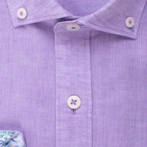 Enlarge  BROOKSFIELD Mens Plain Textured Linen Blend Shirt BFC1524 LILAC