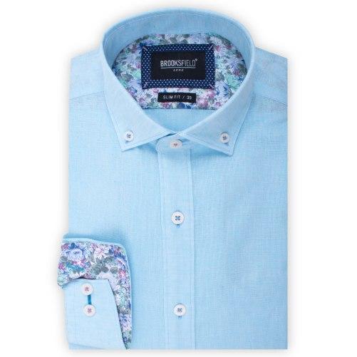 Brooksfield Plain Textured Linen Blend Shirt BFC1524 colour: TEAL