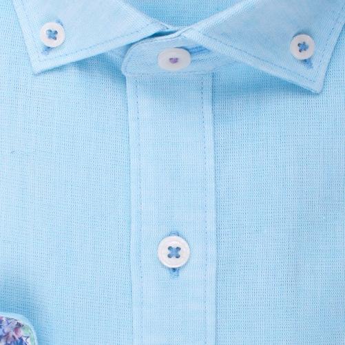 Enlarge  BROOKSFIELD Mens Plain Textured Linen Blend Shirt BFC1524 TEAL