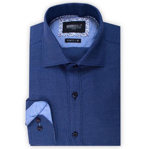 Brooksfield Jaspe Dobby Shirt BFC1527 colour: NAVY