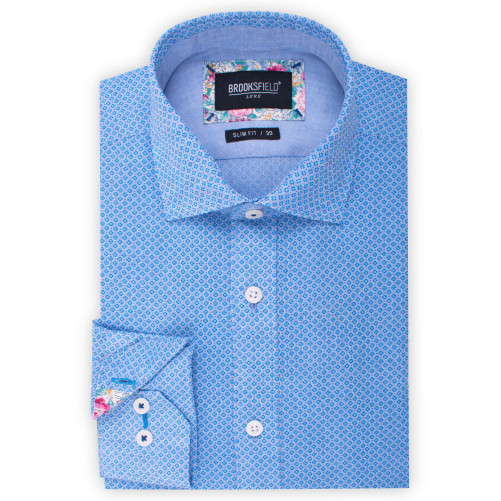 Brooksfield Linen Blend Clover Print Shirt BFC1534 colour: BLUE