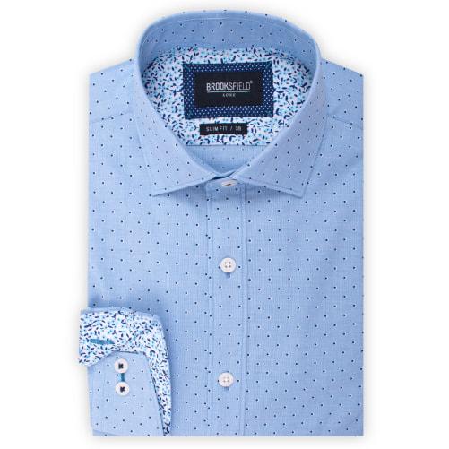 Brooksfield Luxe End on End Dot Print Shirt BFC1536 colour: AQUA