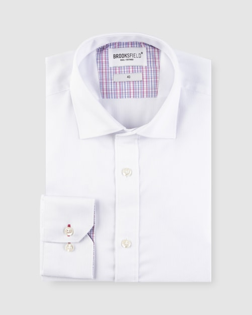 Brooksfield Textured Plain Business Shirt BFC1621 colour: WHITE