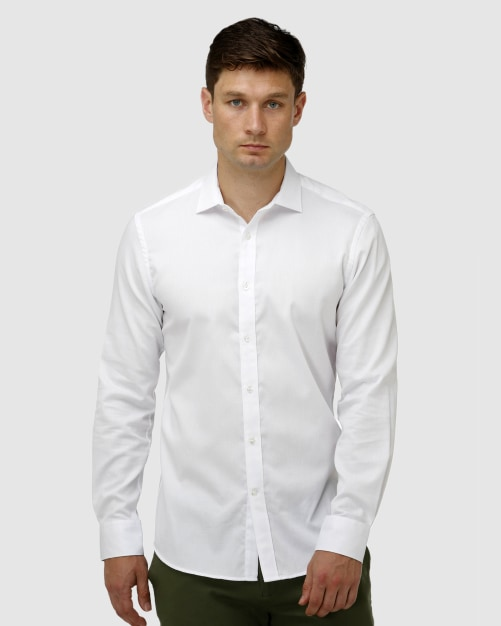 Enlarge  BROOKSFIELD Mens Textured Plain Business Shirt BFC1621 WHITE