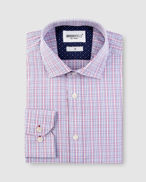 Brooksfield Multi Coloured Check Business Shirt BFC1622 colour: BERRY