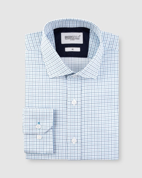 Brooksfield Window Pane Check Business Shirt BFC1624 colour: AQUA
