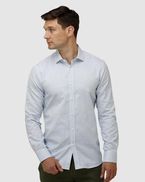 Enlarge  BROOKSFIELD Mens Window Pane Check Business Shirt BFC1624 AQUA