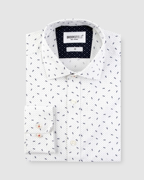 Brooksfield Stretch Abstract Leaf Print Business Shirt BFC1627 colour: WHITE