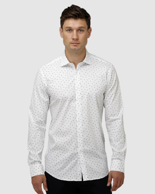 Enlarge  BROOKSFIELD Mens Stretch Abstract Leaf Print Business Shirt BFC1627 WHITE