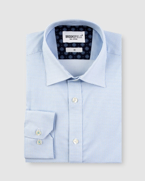 Brooksfield Stretch Double Dot Print Business Shirt BFC1632 colour: TEAL