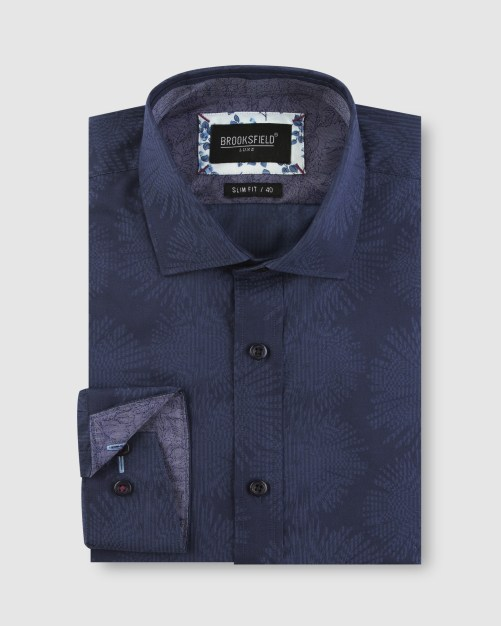 Brooksfield Tonal Jacquard Business Shirt BFC1635 colour: NAVY