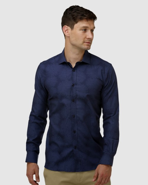 Enlarge  BROOKSFIELD Mens Tonal Jacquard Business Shirt BFC1635 NAVY