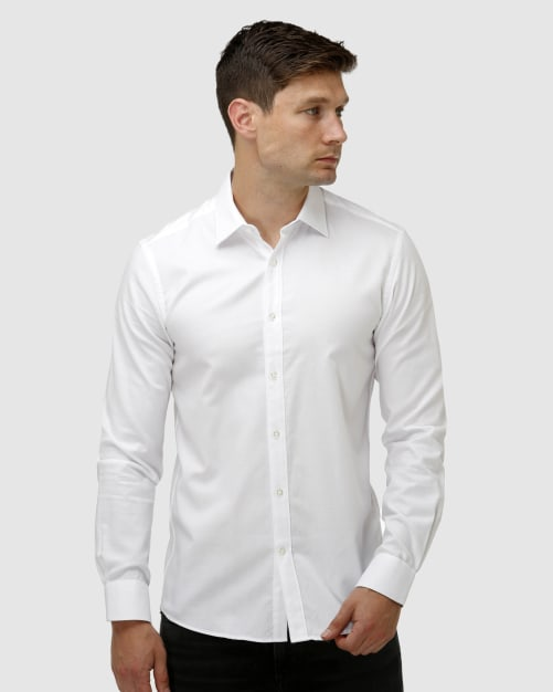 Enlarge  BROOKSFIELD Mens Textured Plain Business Shirt BFC1637 WHITE