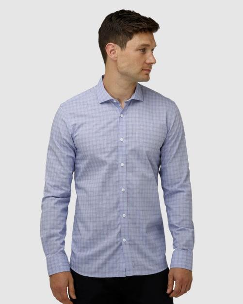 Enlarge  BROOKSFIELD Mens End on End Check Business Shirt BFC1640 BLUE