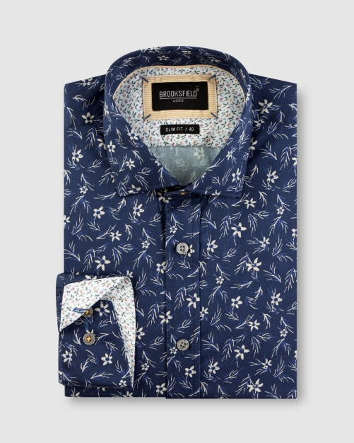 Brooksfield Floral Print Satin Business Shirt BFC1644 colour: NAVY