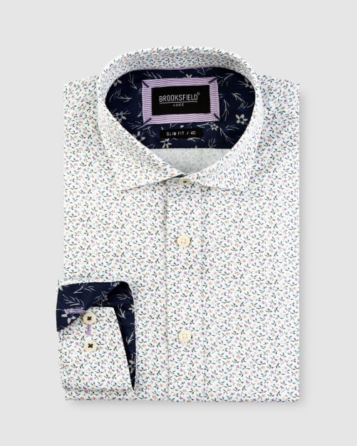 Brooksfield Mini Floral Print Satin Business Shirt BFC1647 colour: WHITE