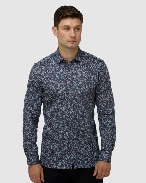 Enlarge  BROOKSFIELD Mens Paisley Print Satin Business Shirt BFC1648 NAVY