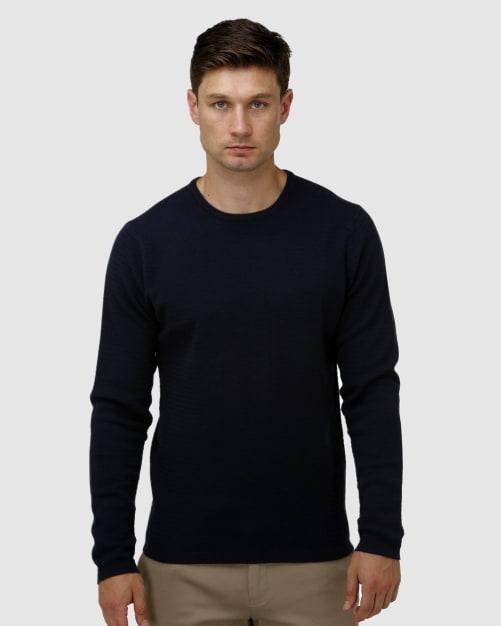 Enlarge  BROOKSFIELD Mens Textured Core Crew Neck Sweater BFK396 NAVY
