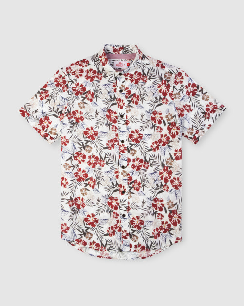 Enlarge  BROOKSFIELD Mens Hawaiian Print Short Sleeve Casual Shirt BFS940 RED