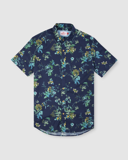 Enlarge  BROOKSFIELD Mens Large Floral Print Short Sleeve Casual Shirt BFS942 NAVY