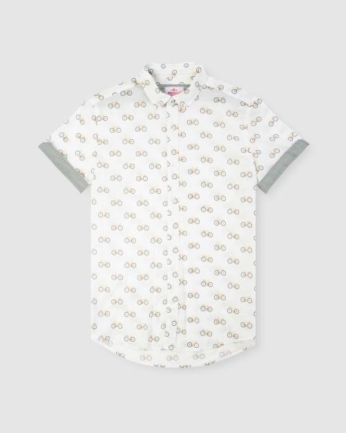 Enlarge  BROOKSFIELD Mens Bicycle Print Short Sleeve Casual Shirt BFS944 YELLOW